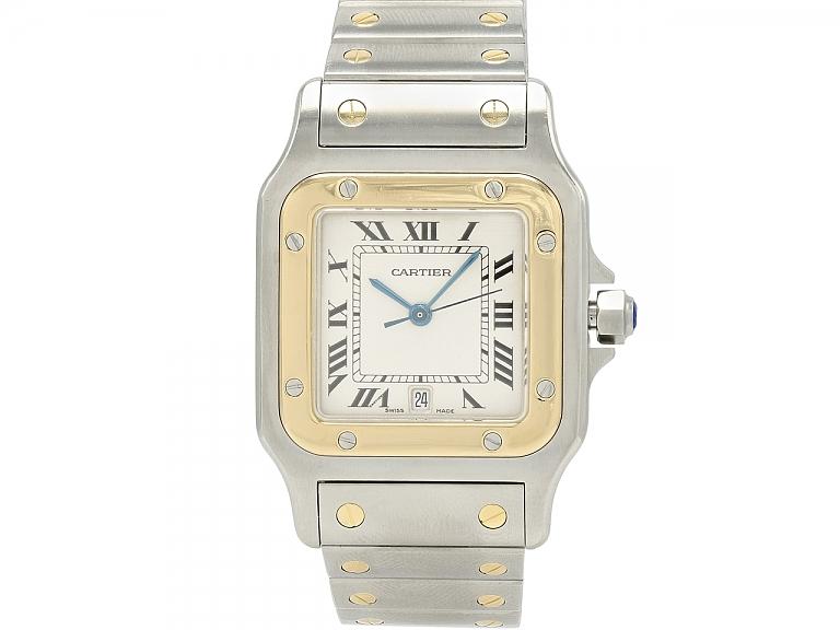 Video of Cartier 'Santos de Cartier Galbée' Watch in Steel and Gold, Large