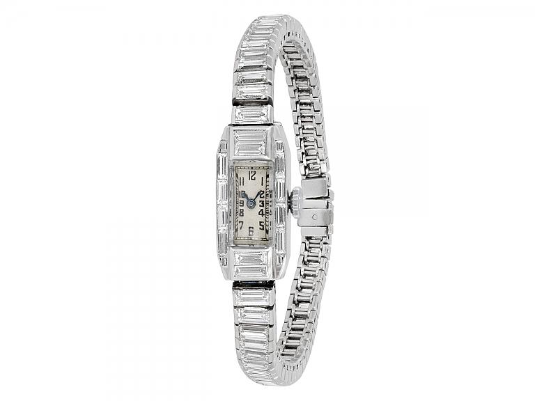 Video of Art Deco Diamond Watch in Platinum