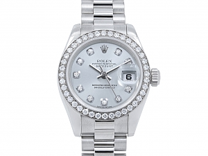 Ladies Rolex President Watch, 26 mm, with Custom Diamond Bezel, in Platinum