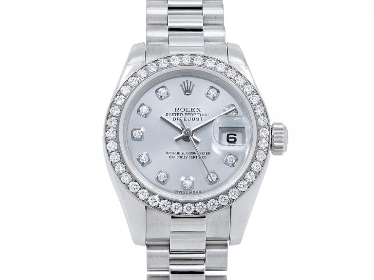 Video of Ladies Rolex President Watch, 26 mm, with Custom Diamond Bezel, in Platinum