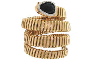 Estate Diamond and Black Onyx Tubogas Snake Bracelet