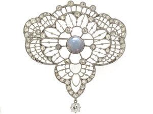 Edwardian Diamond and Moonstone Brooch in Platinum