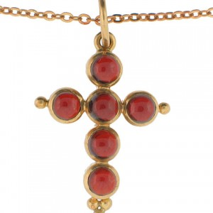 Temple St. Clair Garnet Cross in 18K Yellow Gold