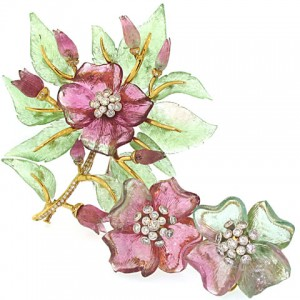 Christopher Walling Carved Tourmaline Earrings and Brooch Set