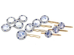Art Deco Moonstone and Sapphire Cufflinks in Platinum and 14K Yellow Gold