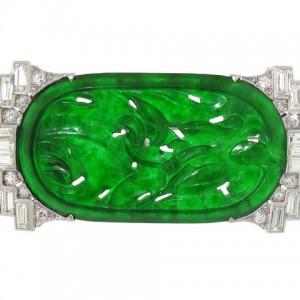Art Deco Jadeite and Diamond Brooch in Platinum