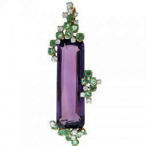 Grima Amethyst, Emerald and Diamond Brooch in 18K