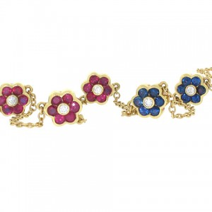Asprey Ruby and Sapphire Necklace in Yellow Gold