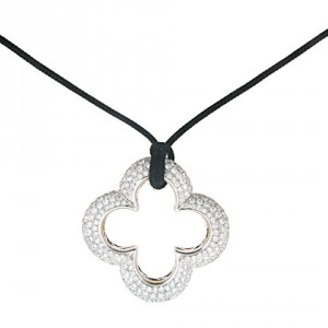 Mouawad and Heidi Klum Diamond Clover Necklace in 18K White Gold