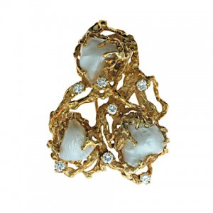 Mid-Century Arthur King Pearl and Diamond Brooch in 18K Yellow Gold