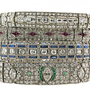 Art Deco Diamond and Gemstone Line bracelets