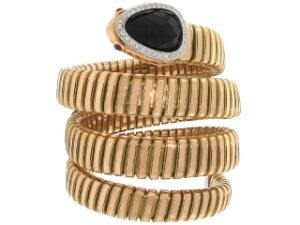 Diamond and Black Onyx Tubogas Snake Bracelet in 18K Rose Gold
