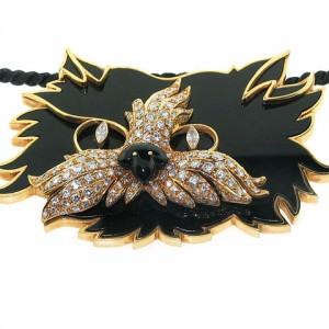 Graff Diamond and Onyx Cat Pendant