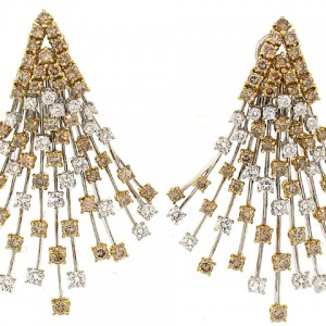 Stefan Hafner White and Yellow Diamond Earrings