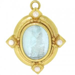 Elizabeth Locke Venetian Glass Intaglio Pendant