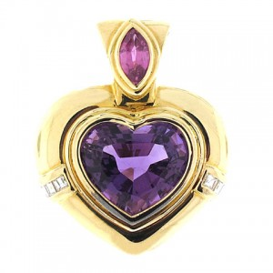 Amethyst Heart Pendant in 18K