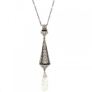 Edwardian Diamond and Onyx Briolette Pendant