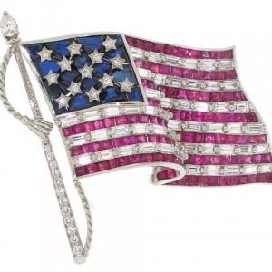 Oscar Heyman American Flag Brooch