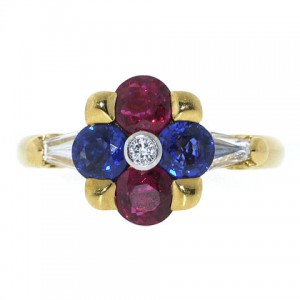Mauboussin Ruby, Sapphire and Diamond Ring in 18K