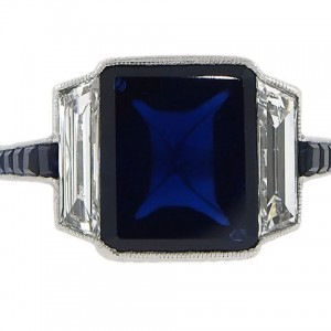 Art Deco J. E. Caldwell Sapphire and Diamond Ring