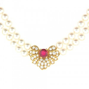 Mikimoto Pearl Necklace with Spinel and Diamonds