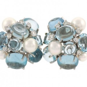 Seaman Schepps Aquamarine, Diamond and Pearl Bubble Earrings