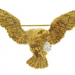 American Eagle Brooch with Diamond Drop