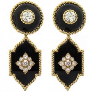 Vintage Van Cleef and Arpels Black Onyx and Diamond Earrings