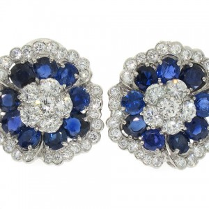 Van Cleef and Arpels Sapphire Camellia Earrings