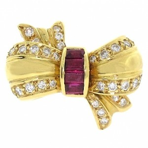 Hennell of Bond Street Ruby and Diamond Bow Ring
