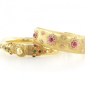 Bohemian Ruby and Gold Bracelets