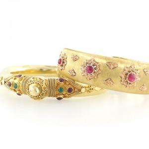 Bohemian Ruby and Gold Bracelets