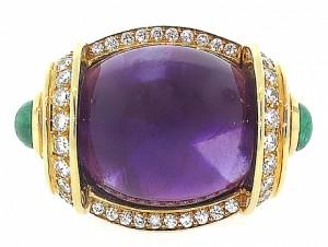 David Webb Amethyst, Diamond and Emerald Ring