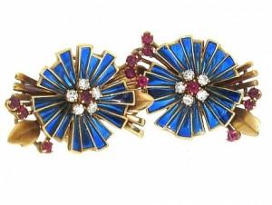 Retro Plique a Jour Enamel and Gemstone Flower Earrings