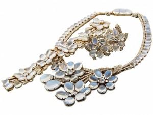 Suite of Diamond and Moonstone Jewelry