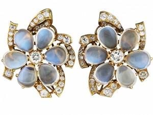 Moonstone and Diamond Earrings
