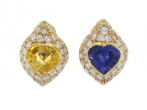 David Morris Yellow and Blue Sapphire Heart Earrings