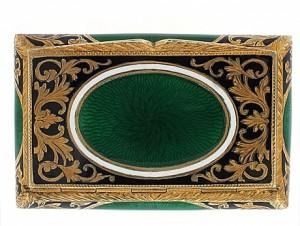 Green and White Enamel Box