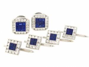 Sapphire and Diamond Dress Set in Platinum