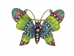 Diamond Plique A Jour Butterfly Brooch