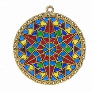 French Plique A Jour Enamel Pendant