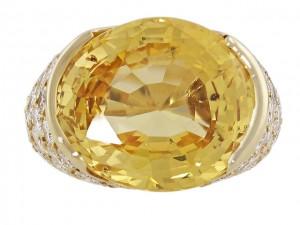 Impressive Yellow Sapphire and Diamond Ring