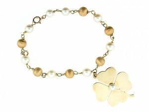Vintage Shamrock Charm Bracelet with Cultured Pearls