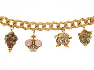 Vintage Large Gemstone Charm Bracelet
