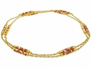 Floral Enamel Chain in 20K
