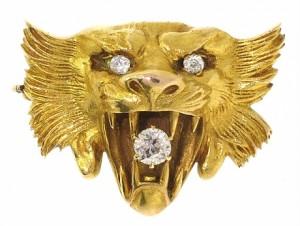 Antique Victorian Lion's Head Brooch