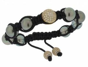Tahitian Pearl and Diamond Shamballa Bracelet