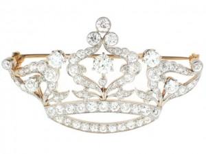 Vintage Art Deco Diamond Crown Brooch