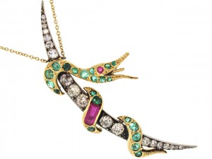 Renee Lewis Antique Victorian Diamond Crescent with Snake