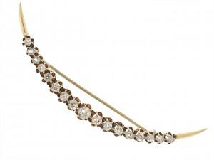 Antique Victorian Diamond Crescent Moon Brooch